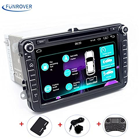 Double 2 din VW Car DVD FUNROVER 8 inch Android 5.1 Car Stereo Radio GPS Navigation 1080P OEM Plugs Canbus for VW Skoda Seat (with Extra Microphone and Wireless Keyboard ) (Car Stereo with 8 Inch Screen)(Update Generation)