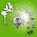 Spiegel Wanduhr 3D Modern Schmetterling Fee DIY Uhr Wandaufkleber Wohnkultur LuckyGirls