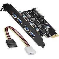 SupaHub PCI-E a USB 3.0 Tarjeta de expansión PCI Express de 4 Puertos, Windows XP, Vista, 7, 8, 10, Incluye Controlador y Conector de alimentación SATA de 15 Pines, versión 2018