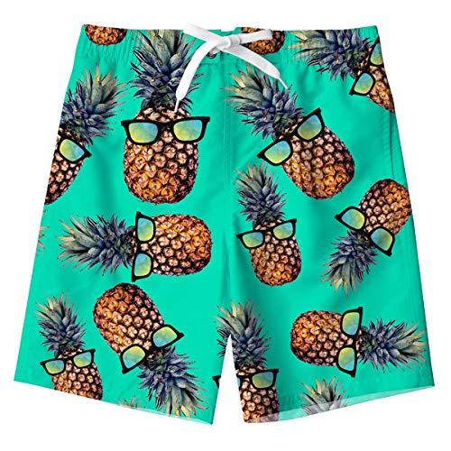 Spreadhoodie Jungen Badehose 3D Ananas Kinder Badeshorts Neuheit Grüne Funny Pineapple Hawaiian Schnell Trocknende Zugschnur Boardshorts mit Taschen für Sommerferien 14-18 Jahre