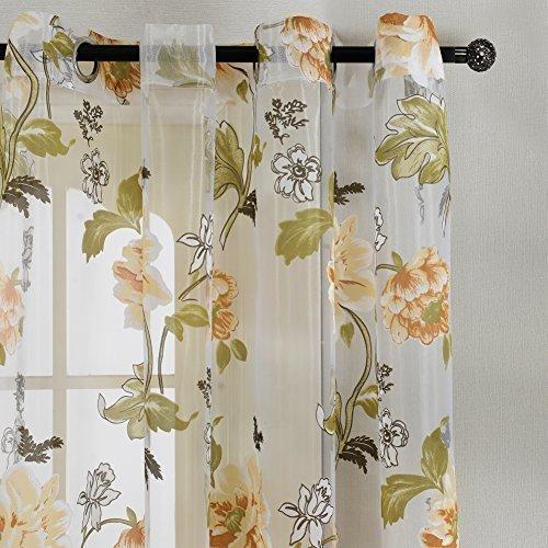 Top finel fiori voile poliestere stampato tenda con occhielli,140 x 215 cm, 1 pezzo, fiore giallo