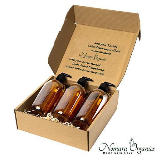 Nomara Organics® Seifenspender Set 3 x 300 ml Bernstein Glas Verpackt auf Stroh, BPA-frei abschließbare Pumpen, Kappen, wiederverwendbar, Bad/Kosmetik-Organizer/Bio/Handwäsche/Shampoo