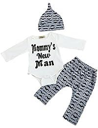 Kukul Bebé chico Linda Romper Tops + Pantalones largos Sombrero Conjuntos Ropa