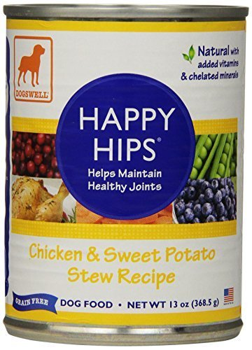 Dogswell Happy Hips for Dogs, Chicken & Sweet Potato Stew Recipe, 13-Ounce Cans (Pack of 12) by Dogswell
