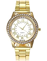 Relojes de pulsera de pareja ❤️ Amlaiworld Moda Relojes pareja Reloj de pulsera de cuarzo analógico de acero inoxidable con diamantes de imitación de cristal para hombre mujeres (Dorado)
