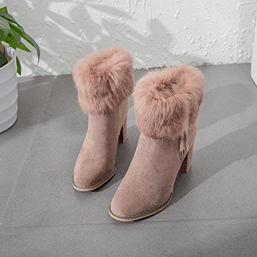 Damen Stiefeletten Elegante Spitze Plüsch Modische Warme Winterschuhe Pink