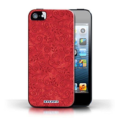 Kobalt® Imprimé Etui / Coque pour Apple iPhone 5/5S / Vert conception / Série Motif Feuille Remous Rouge