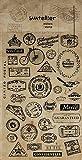 1 Bogen mit 34 kleinen Stickern, Aufkleber MIT BRIEFMARKEN STAMPS im Vintage Nostalgie look, Stickergröße zw. 1 und 3,5 cm