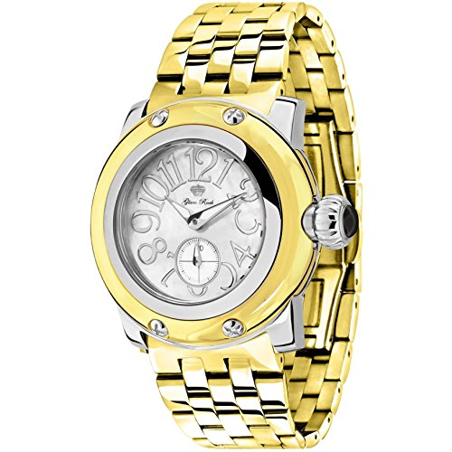 Glam Rock Women's Palm Beach 40mm Gold-Tone Steel Bracelet Gold Plated Case Swiss Quartz Watch GR40048