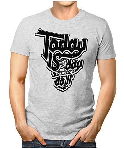 PRILANO Herren Fun T-Shirt - TODAY-DO-IT - Small bis 5XL - NEU Grau Meliert
