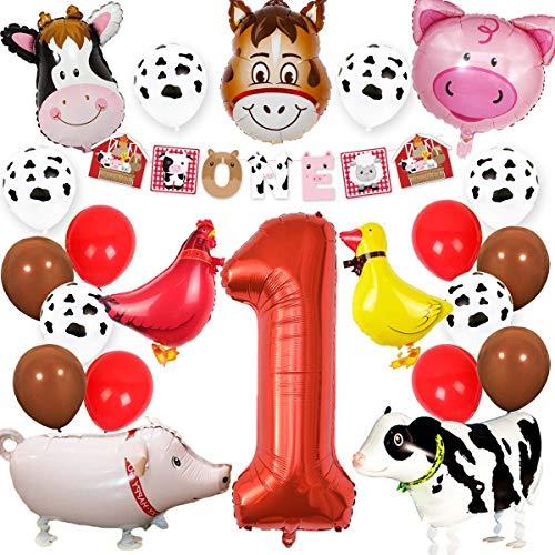 Jollyboom Nutztier 1. Geburtstag Party Supplies Dekorationen Tier Mylar Luftballons EIN Banner für Kinder Barnyard ersten Geburtstag Dekor (Barn Party Animal Supplies)