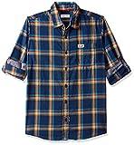 US Polo Association Kids Boys' Checkered Regular Fit Shirt (UKSH6151_USPA Blue_24TFS)