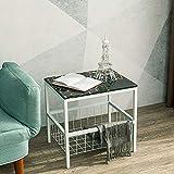 Laptopständer DD Marmor Sofa Beistelltisch, Wohnzimmer Schlafzimmer Couchtisch, Goldener Nachttisch/Quadratischer Tisch -Werkbank (Farbe : White+Black)