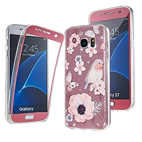 Galaxy S7 Edge , NWNK13® Premium Quality Samsung Galaxy S7Edge Designer Rose Bird 360° Protective TPU Silicone Gel Case Cover With Card Organiser (Samsung Galaxy