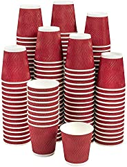 NYHI Set of 150 Ripple Insulated Red 12-oz Paper Cups – Coffee/Tea Hot Cups | Recyclable |3-Layer Rippled Wall
