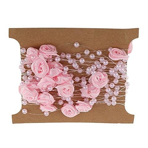 Gazechimp 5m de Chaîne de Perles Satin Guirlande de Perles avec Fleur Rose pour Collier Robe