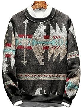 Yiiquan Hombre Dinero Suelto Camisa de Punto Cuello Redondo de Manga Larga Pulóver Suéter