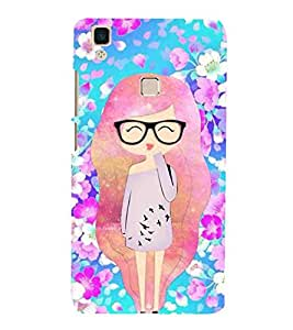 For vivo V3 beautiful girl, girl, cute girl, cartoon, smart girl, scooter Designer Printed High Quality Smooth Matte Protective Mobile Pouch Back Case Cover by BUZZWORLD