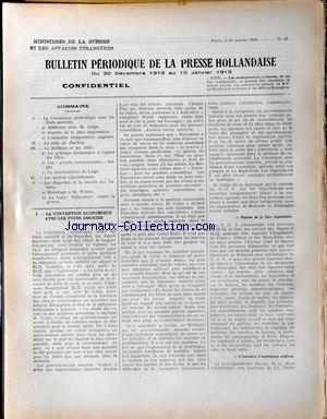 BULLETIN PERIODIQUE DE LA PRESSE HOLLAND...