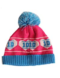 One Direction Girls Pink 1D Hearts Design Winter Bobble Hat Age 3-5 Years