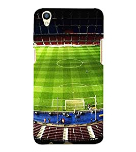 FUSON Football Stadium Day Blue 3D Hard Polycarbonate Designer Back Case Cover for Oppo F1 Plus :: Oppo R9