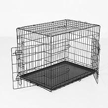 PawHut Transportin Perros 122x77x82 cm 2 Puertas Jaula con Asa Transporte Reja de Alambre Hierro Negro