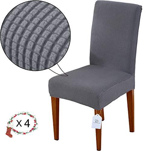 Luollove coprisedia, rimovibile lavabile coprisedie sala da pranzo,fodera sedia con fascia elastica per casa(4 pezzi,grigio)