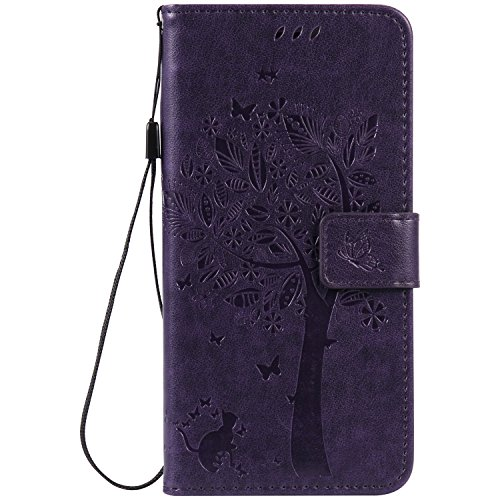 Coque iPhone 8 Plus, iPhone 7 Plus Coque, Voguecase Coque de Protection en PU Cuir Support Flip Housse Étui Cover Case avec Porte-Cartes pour Apple iPhone 7 Plus/iPhone 8 Plus 5.5 (Arbre-Bleu) + Gratu Arbre-Violet Foncé