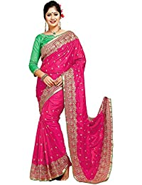 SareeShop Women's Georgette Zari Embroidered Saree With Blouse Piece (CHANDRIKARANI-party Wear Sarees, Pink, Free...