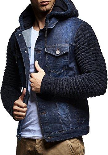 LEIF NELSON Herren Jacke Hoodie Strickjacke Kapuzenpullover Vintage Jeansjacke Sweatjacke Strick Jeans LN5240; Gr_¤e L, Dunkel Blau