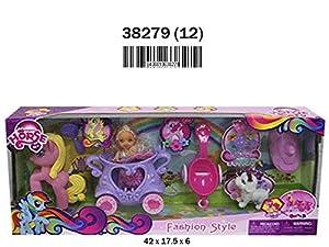 RAMA TRITTON- MUÑECA con CARRUAJE, Pony Y Accesorios 42X17,5X6 CM, (38279)