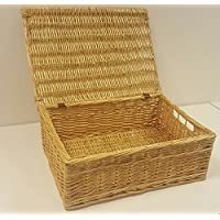 Buff Willow Wicker Shallow Storage Chests / Lids / Baskets / Underbed / Office (Large: L48 cm x W35 cm x H17 cm)