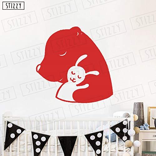 Zhuziji adesivo murale orso coniglio adesivi murali animali sogni d'oro cameretta decorazioni per asili cartone animato ragazze rimovibili dec rosso 42x42cm