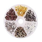 PandaHall Elite Circa 96pcs Clip-on orecchino Component per Orecchie Non forate in Ottone Accessori di Orecchini Fai da Te d'oro Argento Bronzo Antico 6 Colori 13x6x7mm