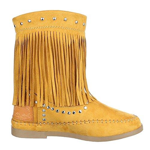 Damen Schuhe, F122, STIEFEL BOOTS MIT FRANSEN Gelb Orange