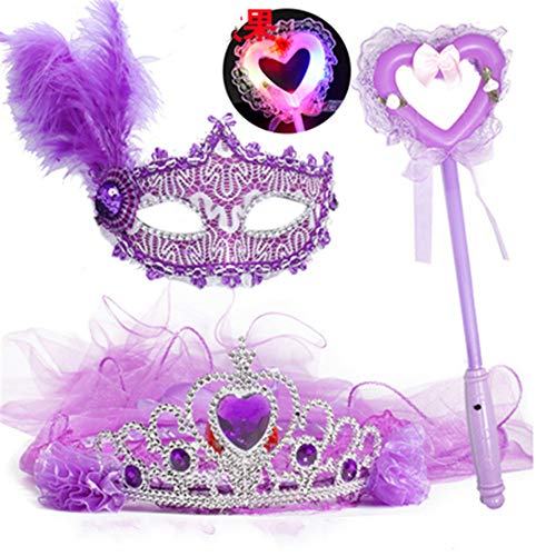 ZjkMr Halloween Kindermaske Damen Prom Princess Girl Crown Veil Festliche Party Dress Up Makeup Maske Halbes Gesicht + Glow Veil + Glowing Lollipop + Princess Mask (9 Option) (Alte Mann Gesicht Kostüm Make Up)
