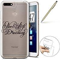 Handy Tasche für Huawei Y6 2018 Silikon Hülle Durchsichtige Schutzhülle Crystal Clear Transparent Ultra Dünn Handyhülle Silikonhülle Kristall Klar TPU Bumper,Traum