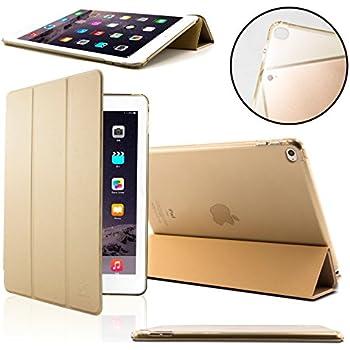 Coque iPad Air 2 - SAVFY Housse de Protection pour Apple iPad Air 2 Etui en PU Cuir Magnétique + FILM D'ECRAN avec Rabat/Stand de Positionnement Support et la Fonction Sommeil/Réveil Automatique - Or