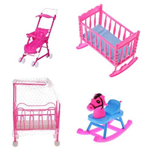 Gazechimp 4pcs/Satz Pink & Blau Puppenhaus Schlafzimmer Möbel aus Kunststoff Für Barbie Kleine Schwester Kelly Puppen ( Kinderbett + Schaukelbett + Schaukelpferd + Kinderwagen ) (Kelly Puppenhaus)