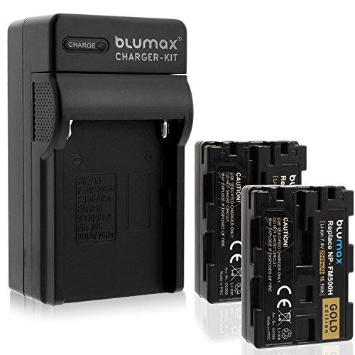 2x Blumax Batterie GOLD Edition pour Sony NP-FM500H 2040mAh + Chargeur NP-FM500H | compatible avec divers modèles d'appareil photo numérique Sony
