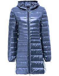 Topgraph Damen Daunenjacke Lang Leicht Kapuzen Gewicht Daunenmantel Down  Coat 600d07e33a