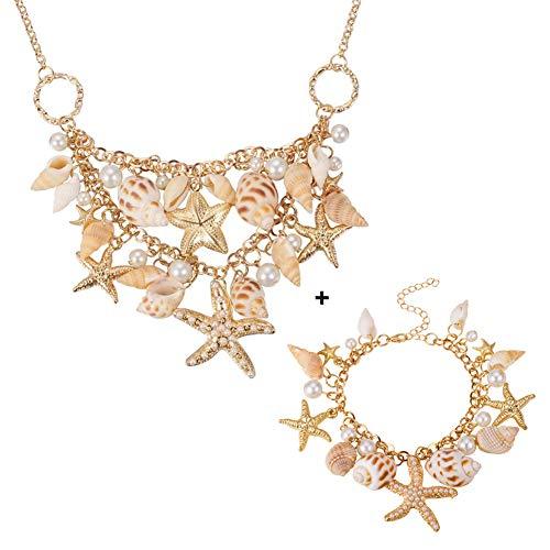 MMRLY Muschel Strand Halskette Armband Set, Starfish künstliche Perle Bib Aussage Halskette Schmuck für Meerjungfrau passt Strand Urlaub ()