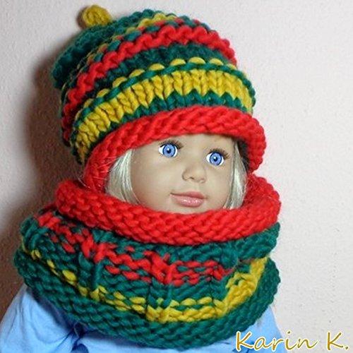 Schurwolle-set (Beanie und Schlauchschal für ein kleines Kind aus kuschelweicher Schurwolle von Lana Grossa/Merino- Baby- und Kleinkind- Set in Rot, Grün und Senfgelb)