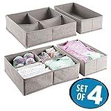mDesign 4er-Set Stoffbox für Schrank oder Schublade – idealer Baby Organizer für Wäsche, Socken etc. – flexibel verwendbare Stoffkiste – grau