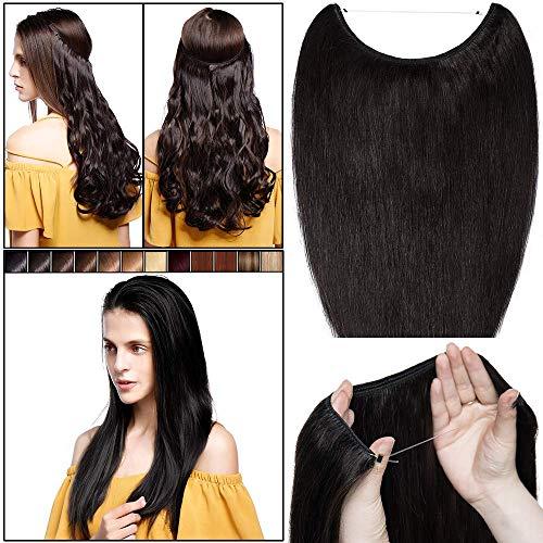 45cm extension capelli veri con filo invisibile neri senza clip fascia unica 65g estensioni wire trasparente 100% remy human hair lisci naturali umani #1b nero naturale