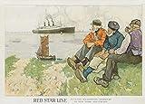 Vintage Travel Kanada und New York, Amerika aus Antwerpen, Southampton, Cherbourg mit Red Schlagt Star Line 's 250gsm, Hochglanz, A3, vervielfältigtes Poster
