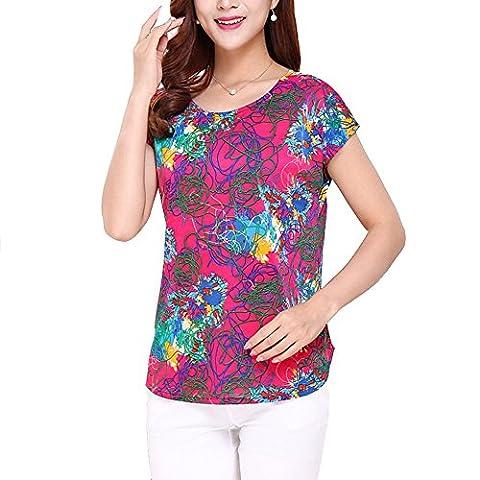 Blouse Chemise Tops Shirt Imprimé Manches Courtes Col Rond Blouse Amples Confortable et Elégant