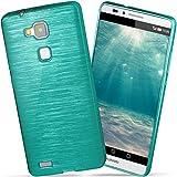 moex Huawei Mate 7 | Hülle Silikon Türkis Brushed Back-Cover TPU Schutzhülle Ultra-Slim Handyhülle für Huawei Ascend Mate 7 Case Dünn Silikonhülle Rückseite Tasche