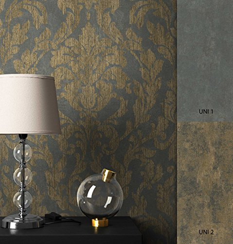 NEWROOM Barocktapete Tapete Schwarz Ornament Barock Vliestapete Gold Vlies moderne Design Optik...