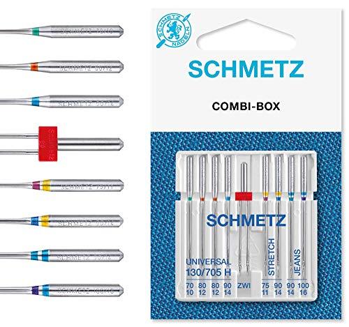 SCHMETZ Nähmaschinennadeln Set 4 Universal Nadeln | 2 Stretch Nadeln | 2 Jeans Nadeln | 1 Zwillings-Universal-Nadel | geeignet für alle gängige Haushalts-Nähmaschinen -